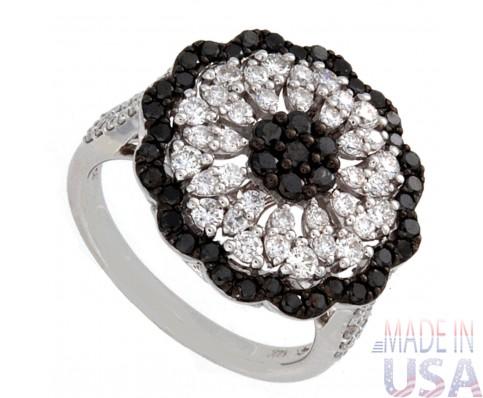 Ladies Black & White Diamond Cocktail Ring