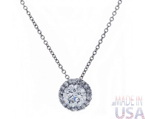 Ladies Solitaire Micropavé Diamond Pendant