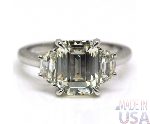 Natural 2.50ct Three Stone Emerald Cut Diamond Engagement Ring