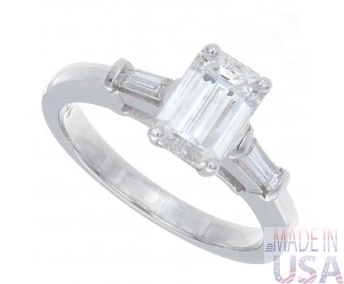 1.35ct Certified Emerald Cut Diamond Engagement Ring