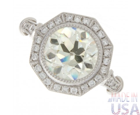3.00ct Certified Old European Cut Diamond Antique  Engagement Ring