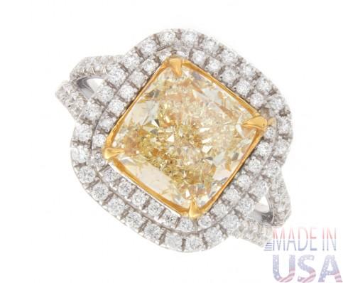 4.07ct Fancy Yellow Cushion Cut Halo Pavé Diamond Engagement Ring