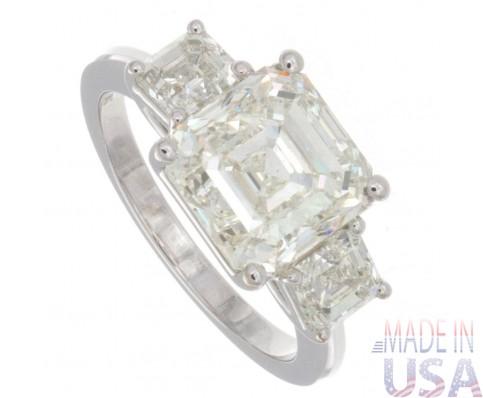 5.00ct Asscher Cut Three stone Diamond Engagement Ring