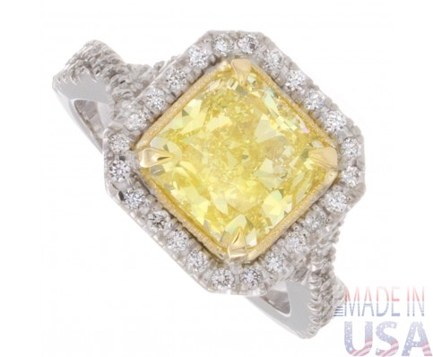 2.44ct Certified Fancy Yellow Radiant Cut Diamond Engagement Ring