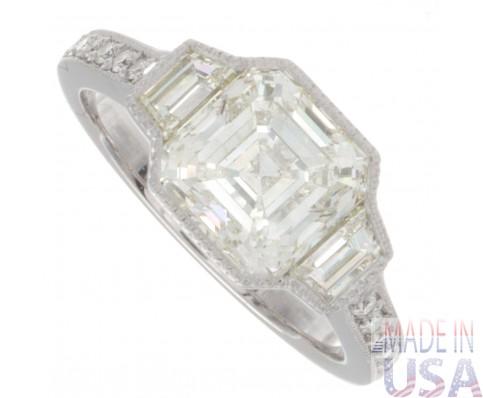 3.12ct Asscher Cut GIA Certified Platinum Antique Engagement Ring