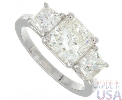 3.40ct Certified Radiant Cut Three Stone Diamond Engagement Ring