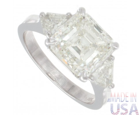4.50ct Certified Asscher Cut Three Stone Diamond Engagement Ring