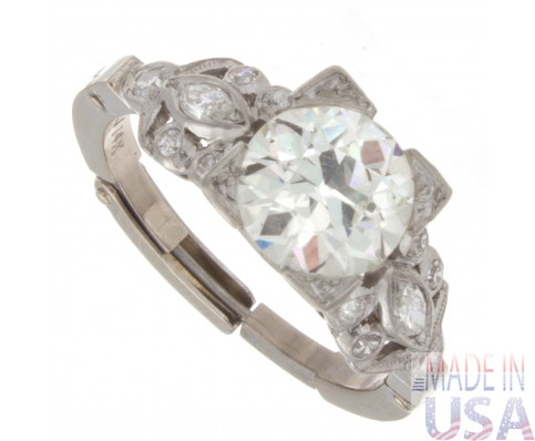1.50ct Old European Cut Certified Antique Diamond Engagement Ring