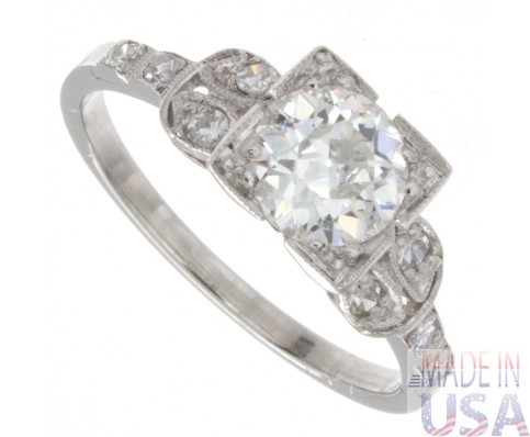 0.95ct Old European Cut Certified Antique Diamond Engagement Ring