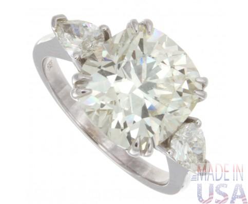 5.35ct Cushion Cut Three Stone Engagement Ring