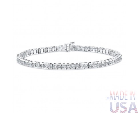 6.00ct Princess Cut Diamond Tennis Bracelet