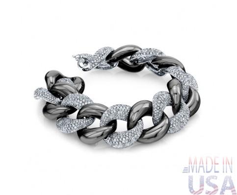 Ladies Pavé Diamond Link Bracelet