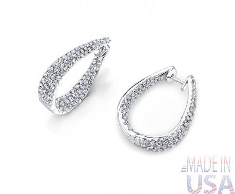"Ladies "" U "" Shape Micropavé Diamond Hoop Earrings"