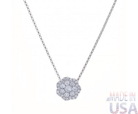 Ladies Snowflake Micropavé Diamond Pendant