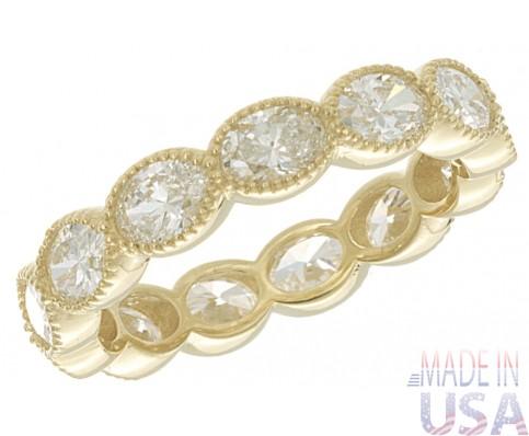2.43ct ttw Oval Cut 18kt Yellow Gold Diamond Eternity Band