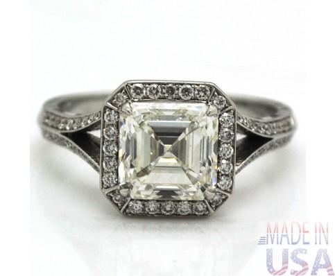 3.06ct Asscher Cut Diamond Engagement Ring Certified