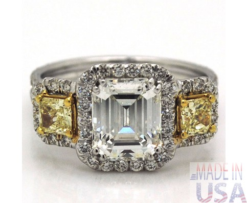 3.21ct Emerald Cut Diamond Engagement Ring Certified