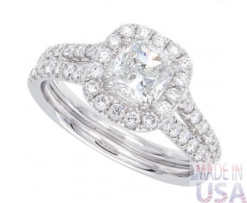 1.73ct Cushion Cut Diamond Micropavé Engagement Ring