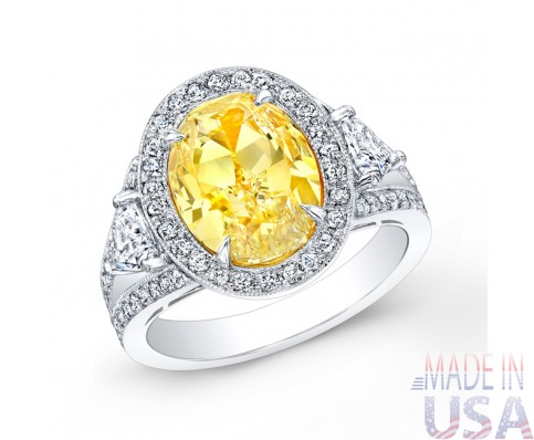 4.14ct Fancy Yellow Oval Cut Diamond Ring