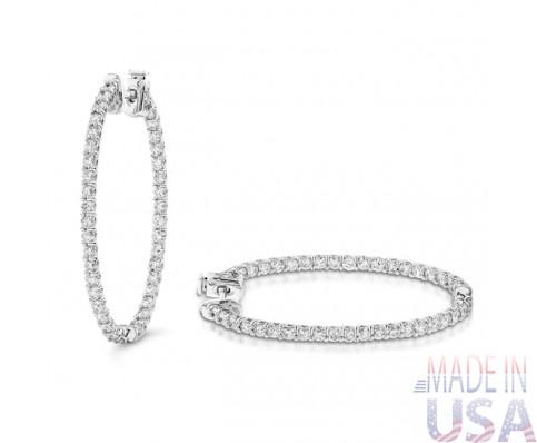 Ladies 3.00ct  Diamond Hoop Earrings