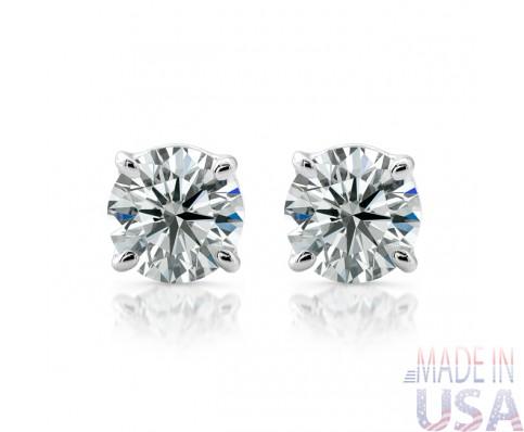 18kt Ladies 1.00ct I/J SI Round Basket Diamond Stud Earrings