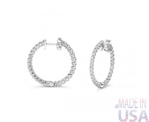 Ladies 1.50ct Diamond Hoop Earrings