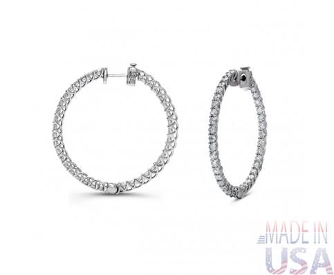 Ladies 4.00ct Diamond Hoop Earrings