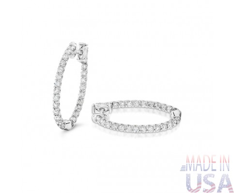 Ladies 2.00ct Diamond Hoop Earrings