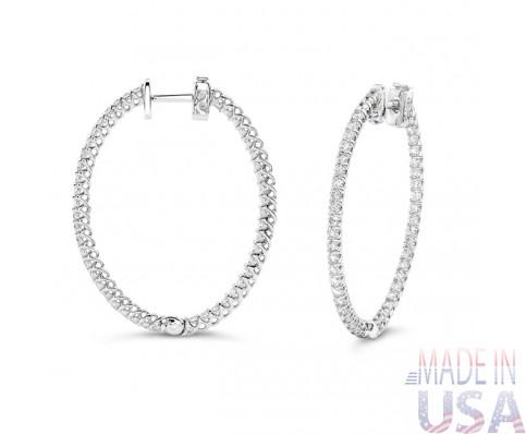 Ladies 2.25ct Diamond Hoop Earrings