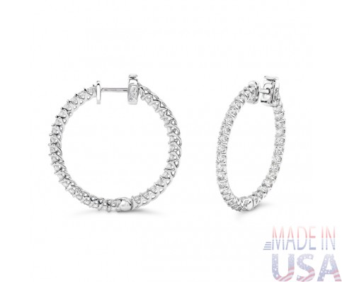 Ladies 2.90ct Diamond Hoop Earrings