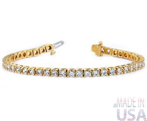Ladies 3.00ct Yellow Gold Diamond Tennis Bracelet