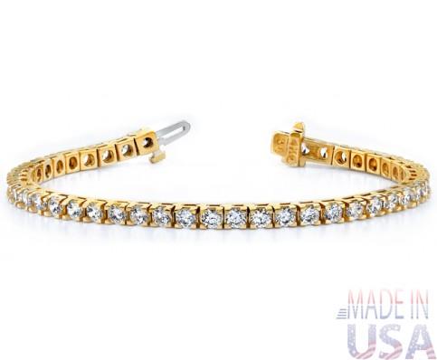 Ladies 5.00ct Yellow Gold Diamond Tennis Bracelet