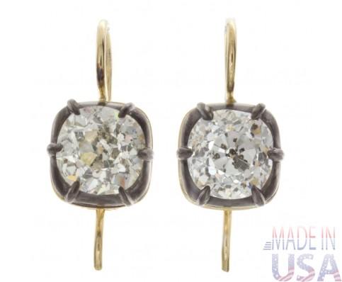 6.00ct Old Mine Cut Antique Diamond Earrings