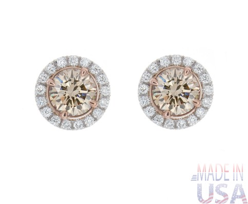 2.36ct Champagne Colored Diamond Pavé Stud Earrings