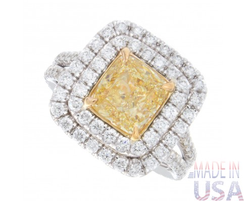 3.00ct Fancy Yellow Cushion Cut Diamond Engagement Ring