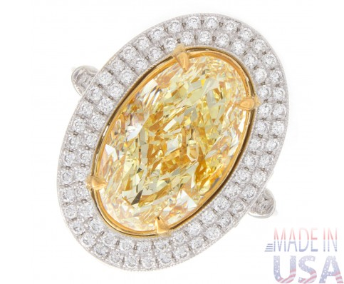 4.50ct Oval Cut Fancy Yellow  Halo Pavé Diamond Engagement Ring