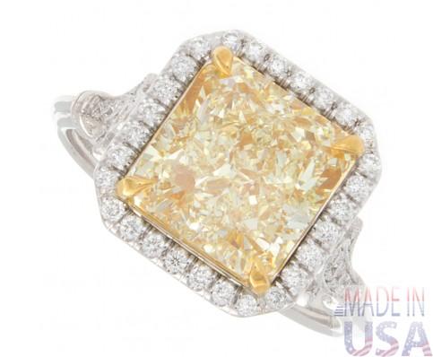 3.22ct Radiant Cut Fancy Yellow Halo Diamond Engagement Ring