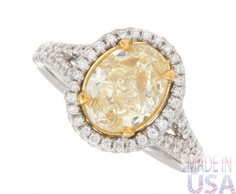 2.51ct Fancy Yellow Oval Halo Pavé Diamond Engagement Ring