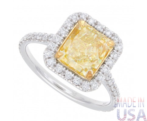 2.40ct Radiant Cut Fancy Yellow Pavé Diamond Engagement Ring