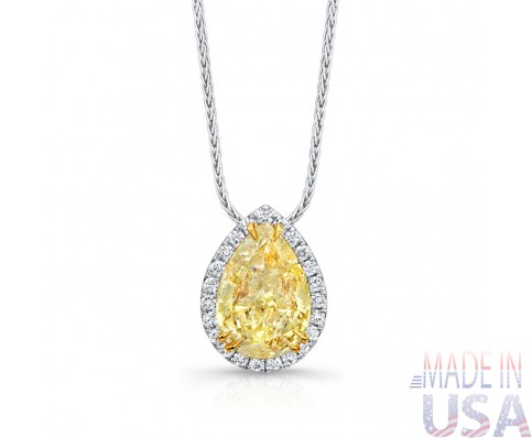 Ladies 3.19ct Fancy Yellow Pear Shape Diamond Pendant