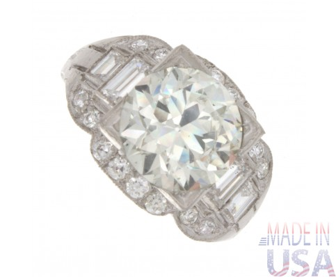 3.78ct Certified Old European Cut Platinum Antique Diamond Engagement Ring