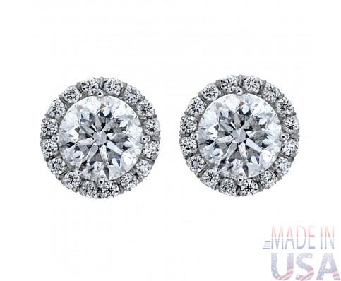Ladies 1.20ct Round Brilliant Cut Diamond Micropavé Stud Earrings