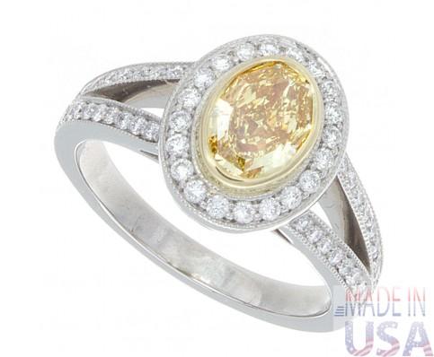 1.75ct Fancy Intense Yellow Oval Cut Diamond Certified
