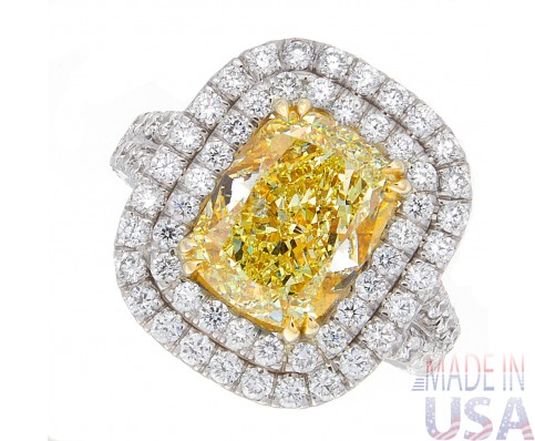 5.45ct Cushion Cut Fancy Yellow Certified Diamond Engagement Ring