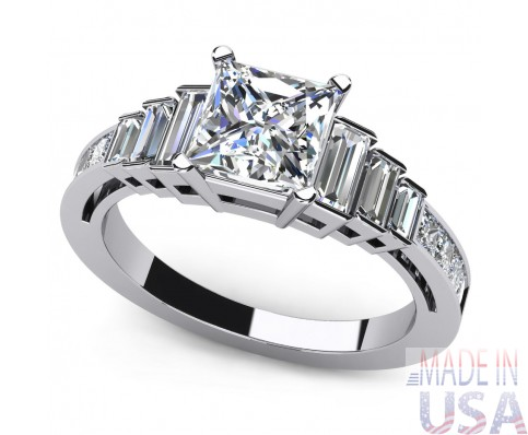 2.90ct Certified Princess Cut Diamond Engagement Ring