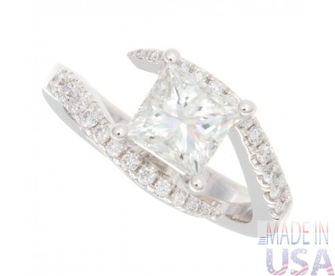 1.30ct Princess Cut Pave Twisted Shank Diamond Engagement Ring