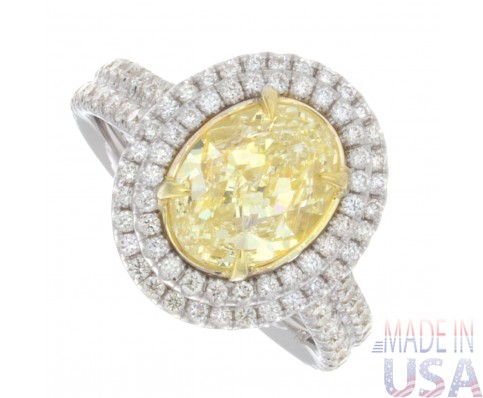2.73ct Certified Fancy Yellow Cushion Cut Diamond Pavè Engagement Ring