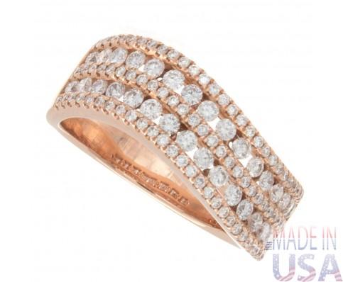 Ladies 0.87ct Rose Gold Diamond Ring
