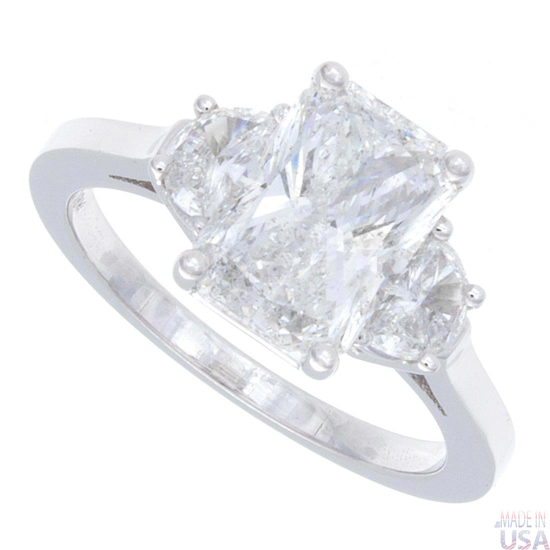 18kt G/H SI 2.30ct Radiant Cut Diamond Engagement Ring