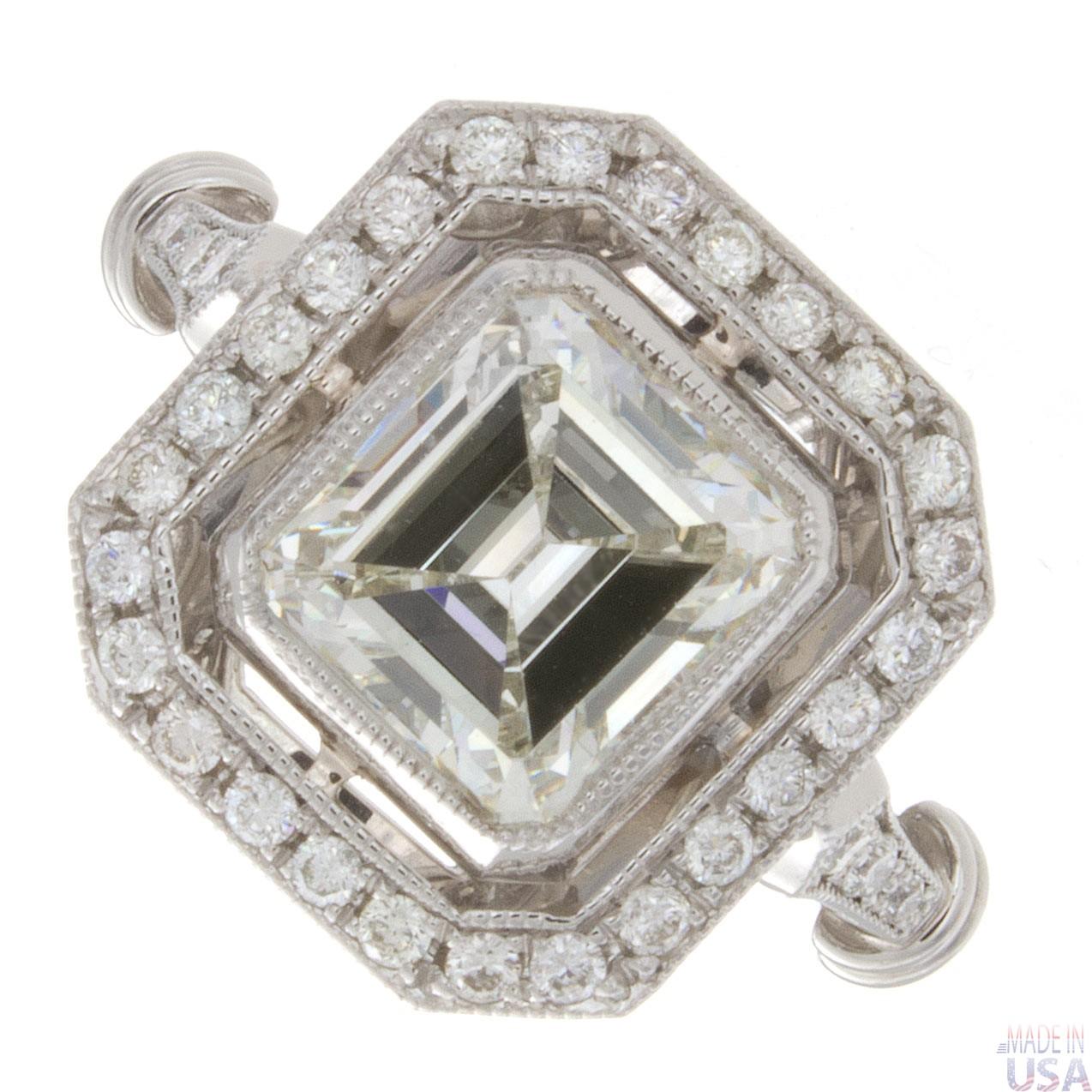 2 00ct certified emerald cut antique platinum